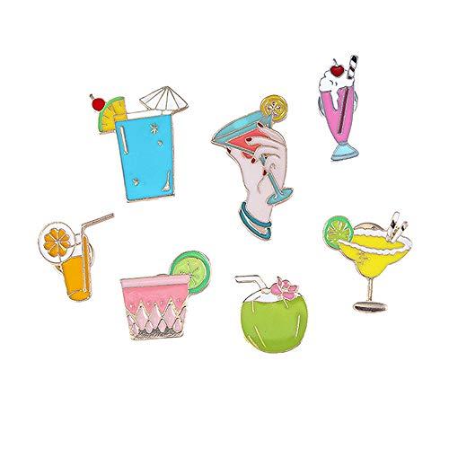 @Y.T 7-teilige Kombination Sommer Stil Strand Tasse Männer und Frauen Brosche Zitrone Kokos Saft Brosche Abzeichen