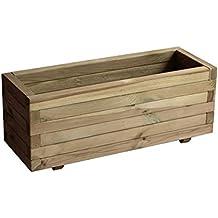 Garbric - Jardinera rectangular recta 60x20x20.8 madera trat