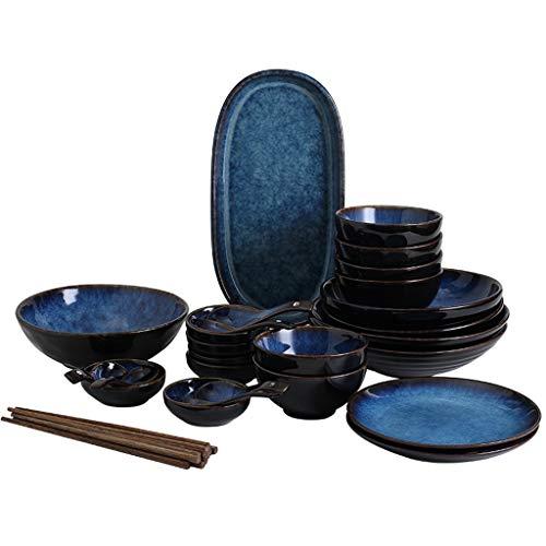 Bowl Juego de vajilla de cerámica Azul japonés, tazón de Fuente/Plato/Plato/Plato Plato de arroz Cuenco de Sopa, Plato de Plato de Pescado Creativo (Color : Six-Pack)