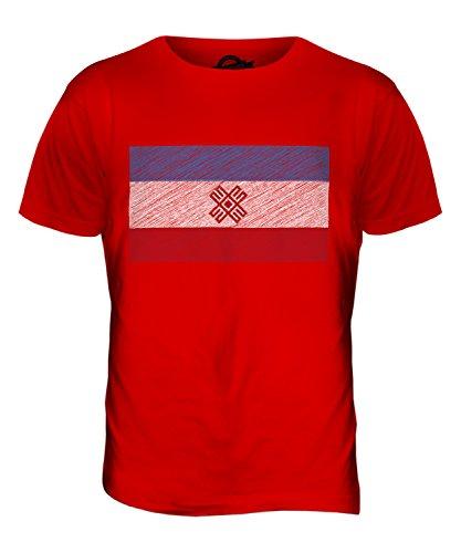 CandyMix Mari El Kritzelte Flagge Herren T Shirt Rot