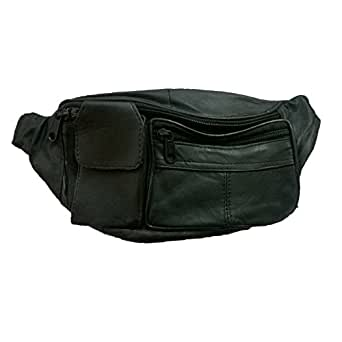 ALW KIKS Soft Black Sheep Leather Travelling Waist Pouch - Black