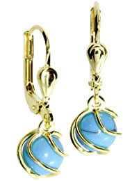 InCollections ladies earrings 333/000 gold with rek Turquoise 0050160102401.