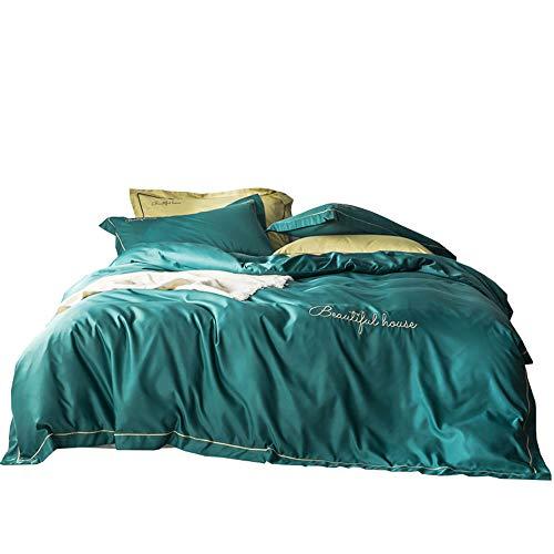 Spannbettlaken 4Er-Set 180X230,245X250,245X270cm Mehrfache Farben Jersey Baumwolle Spannbetttuch Doppelpack Standardmatratze, Matratzenschoner, Atmungsaktive Matratzen-Auflage,Green,2.45X2.7m