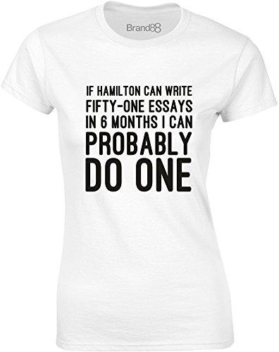 Brand88 - Essay Writer, Gedruckt Frauen T-Shirt Weiß/Schwarz