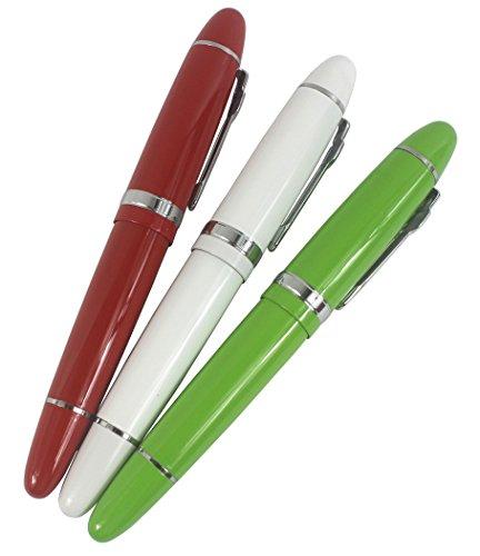 3 pz di Jinhao 159 penne di rulli di grande barattolo in 3 colori (rosso, bianco, verde) penna ben bilanciata scrittura liscia, con la tasca trasparente della penna