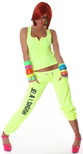 Jela London Damen Top in Feinripp-Optik mit Strass-Knöpfen verziert Einheitsgröße (32-36) Neongelb