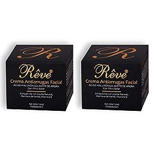 REVE Crema Antiarrugas Facial Argan con Ácido Hialurónico + Molecular Film + Vitamina E + Manteca de Karite + Aloe Vera…