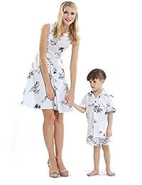 f02c5e508 Conjunto de Luau Hawaiano de Madre e Hijo Vestido Vintage de Mujer  Pantalones Cortos Boy Shirt