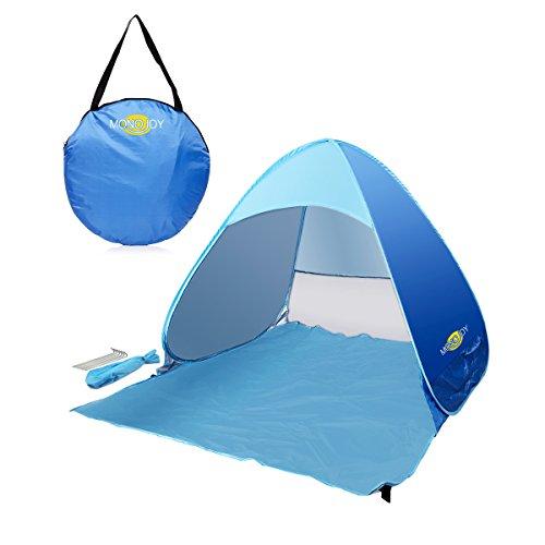 MONOJOY Strandmuscheln Wurfzelte Sonnenschutz Pop Up Zelte UPF 50+ Für Outdoor Camping Leicht Strand Angeln Picknick Kinder Baby … (Blau)