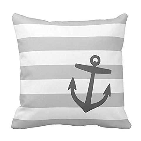 Cotton Stripe Pattern Pillowcase Gray And Charcoal Nautical Stripes And Cute Anchor Throw Pillow Covers 18 x