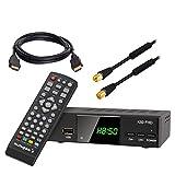 Kabel Receiver Kabelreceiver - DVB-C HB-DIGITAL HD Receiver für digitales Kabelfernsehen mit PVR (HDMI, SCART, USB, LAN, Mediaplayer, HDTV) + HDMI Kabel + 1m Antennenkabel Mantelstromfilter schwarz