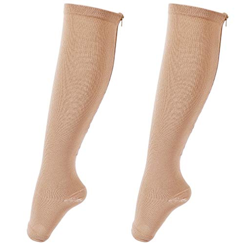Solid Color Knie-socken (YUELANG Unisex Anti-Fatigue Compression Socks Fuß Bein Solid Miracle Copper Anti-Fatigue Magic Socks Knie (Color : Beige, Size : S/M (42 44)))