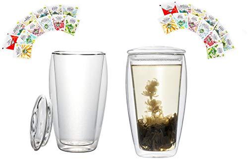 BIO-Teeset: 2x 400ml XL doppelwandige Gläser mit Deckel + 2x 12 versch. BIO Teebeutel - Teeglas Probier- und Geschenkset - by Feelino