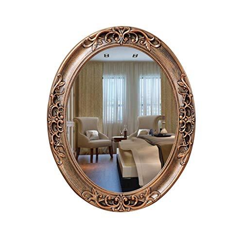 YangD Badezimmerspiegel, Wand-Ankleidespiegel, Vintage Oval Holz geschnitzten Rahmen,modernes Zuhause Schlafzimmer Eitelkeit antiken dekorativen Spiegel (Farbe : Kupfer) -