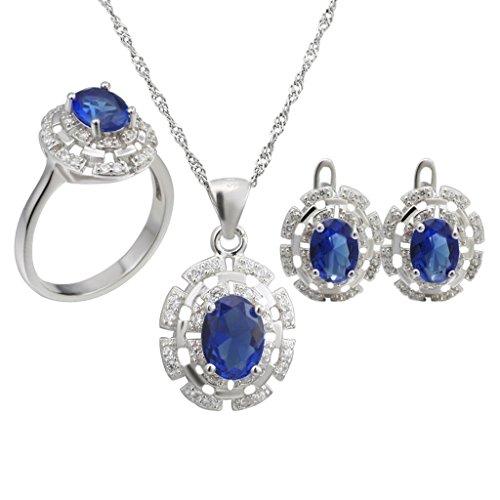 Aooaz Femmess Ensemble de Bijoux, Ovale CZ Cristal Mariage Bague Collier Boucles d'Oreilles Ensemble Rouge Vert Bleu Éternel Amour Bleu