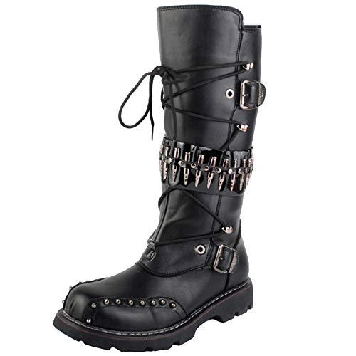 Mens Rivet Martin Stiefel PU-Leder Kalb Boot Side Zip Kampfstiefel Punk Rock Militär Polizei Ritter Boot Cosplay,Black-39 -