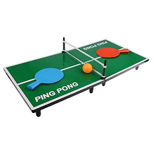Hobby Concept Mini Table de ping Pong 62 x 30,5 x 7 cm avec 2 Raquettes, 1 Balle et Un Filet Tennis de Table de Bureau Cadeau de Noël