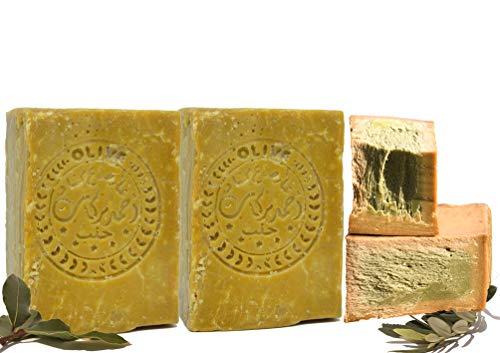 E4U Original Aleppo Seife 2 x 200 g 60% Olivenöl, 40% Lorbeeröl Handarbeit bio Vegan Duschgel Haarseife Duschseife Rasierseife Hautpflege