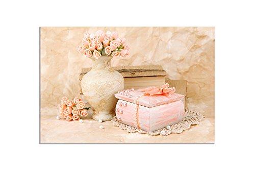 deinebilder24 Deko Bild - 80 x 120 cm - Stillleben in rosa, Schmuckkästchen und Rosen in - Rosa Rosen Bild