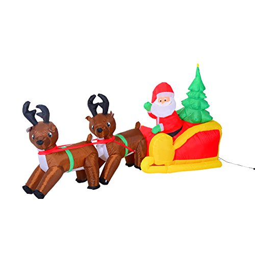 Homcom - babbo natale con renne gonfiabile pupazzi luminosi a led in poliestere 210 x 80 x 120cm rosso e marrone