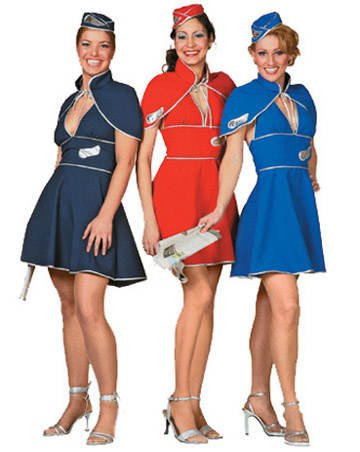 (SALE Damen-Kostüm Stewardess, blau, Gr. 40)