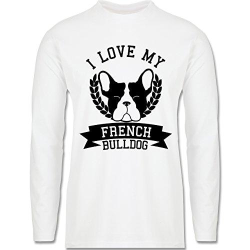 Hunde - I love my French Bulldog - Longsleeve / langärmeliges T-Shirt für Herren Weiß