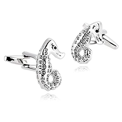 AMDXD Jewelry Stainless Steel Cufflinks for Men Seahorse Hippocampus Silver