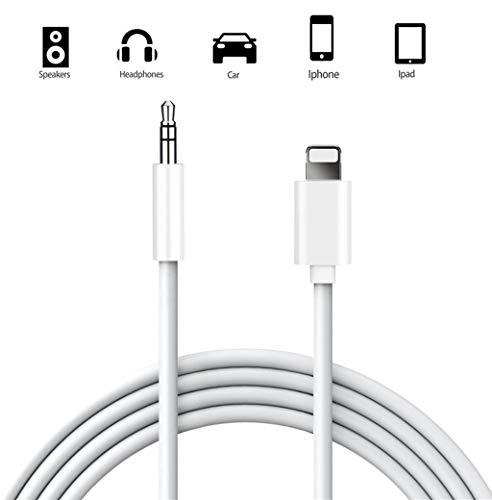 Audio Auxiliar Estéreo Cable para iPhone, 1M Audio Auxiliar Estéreo Cable de Audio 3.5mm Jack para iPhone 7/7 plus/8/8 plus/X/XS, iPod, Home/Coche Estéreo Auricular, Hi-Fi, Auriculares, Altavoz