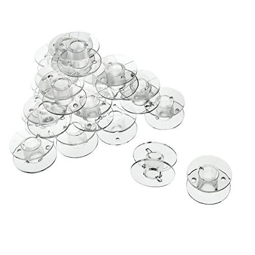 25 Spulen leer für die Nähmaschine / Nähmaschinenspulen (transparent / durchsichtig) aus Kunststoff