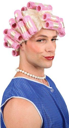 Liesbeth Perücke mit Lockenwicklern für Herren und Damen Junggesellenabschied, Farbe:blond