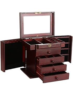 Holz Schmuckkästen mit 4 Schubladen und Spiegel Schmuckkbox Schmuckkoffer Aufbewahrung 38x21x31cm Wine