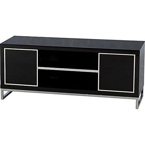Élégante et Couleur Charisma Noir brillant avec 2 portes et 1 étagère Meuble TV à écran plat design Finition brillant moderne Charisma Meuble TV-Idéale pour tous les intérieurs