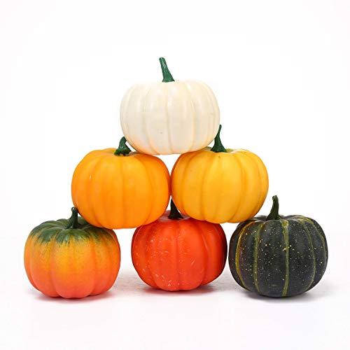AOLVO Künstliche künstliche Mini-Kürbisse, Halloween, für Herbst, Erntedankfest, Garten, Party, Ernte, Dekoration, Handwerk, 12 Stück 6 Pcs Artificial Pumpkins