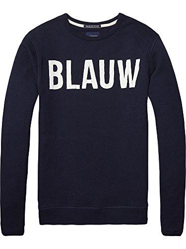 Scotch & Soda Herren Sweatshirt Ams Blauw Signature Brand Sweat Blau (Night 58)