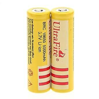 GX UItraFire BRC 18650 5000mAh (2pcs) + 2 PCs / Lot plastique dur Boîte de rangement de la batterie pour 18650 , Jaune