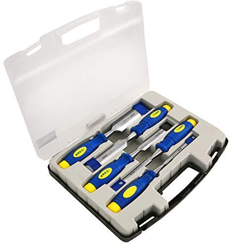 S&R Stechbeitel Set 5 Stück: 6, 12, 20, 25, 32mm, Mehrkomponenten-Hüllen, Professional, im transparenten Koffer