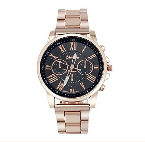 Ularma Composez le numéro romain Genève en acier inoxydable Quartz Sports montre-bracelet,noir