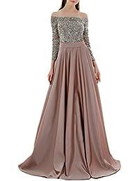a761d1ff8d1f10 NimbleMinLki Damen Abendkleid mit Pailletten und Langen Ärmeln, Aprikose,  XXX-Large