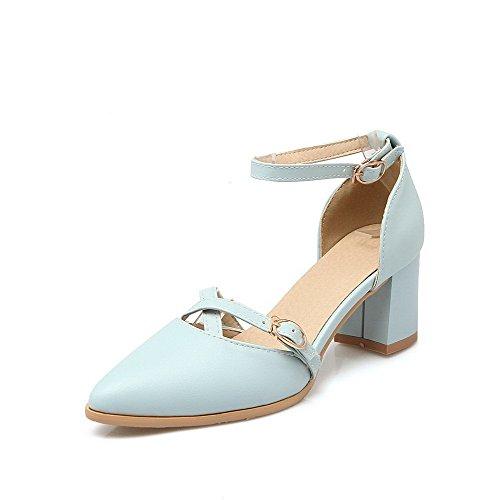 Medio Tacco Luccichio Azzurro Puro Scarpe VogueZone009 Fibbia Donna Punta Flats A Ballet w1Hqna
