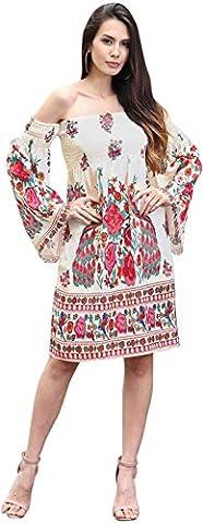 Jeansian Femme Mode Mousseline de soie Robe Women's Summer Sleeveless Chiffon Ethnic Printing Dress WHS448 White XL