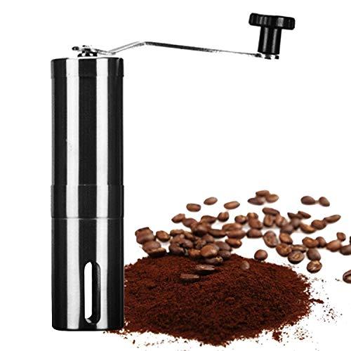 Trounistro Manuelle Kaffeemühle, HandKaffeemühle aus Edelstahl Kaffeemühle Verstellbare Mühle tragbare Handkaffeemühle kompatibel 40g für Zuhause, Büro, Reise, Camping - Silber