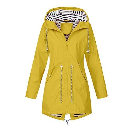 ng Herbst Mantel bequem Solide Regenjacke Outdoor Jacken Wasserdicht mit Kapuze Regenmantel Winddicht Parka Coat (S, Gelb) ()
