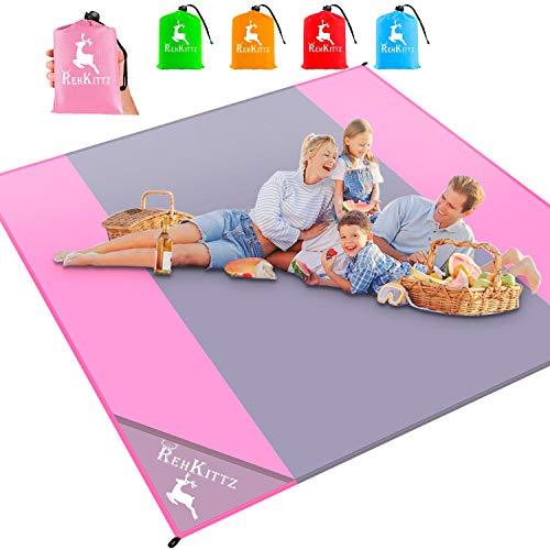 AMZOON 215 x 215 cm XXL Picknickdecke Wasserdicht Stranddecke Decke Für Ausflüge Beach Strandmatte (Pink+Grey)