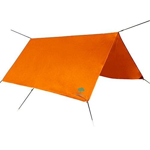 Zeltplane & Regen Tarp, wasserdicht – federleichte 3m x 3m Outdoor Regendach Plane für Camping mit robusten Heringen, Abspannseilen in praktischer Zugbandtasche in Orange