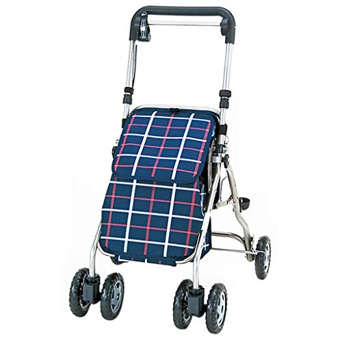 Rollatoren Walker Old Man Armlehne Krücken 4 Wheel Walker Shopping Guter Helfer Patientenfraktur Gehhilfe Bequemes Zusammenklappen Tragen (Color : B, Size : 88.5 * 48cm)