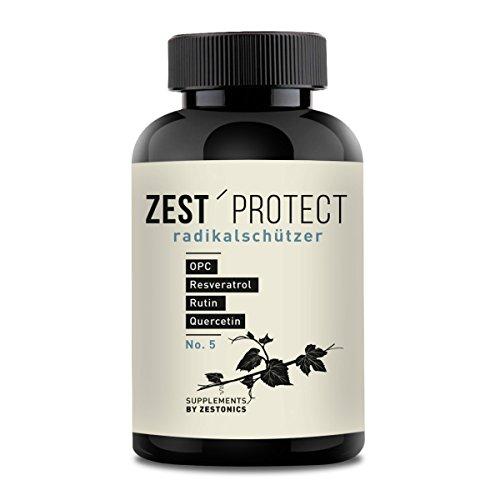 zest'protect OPC Traubenkernextrakt Kapseln | Clever Kombiniert: OPC (465mg, 95 Prozent) plus Rutin, Quercetin und Resveratrol. 120 Kapseln - 4 Monatsvorrat