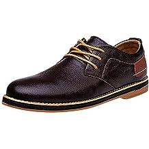 QinMM Zapatos con Cordones de Negocios Formales para Hombres Zapatillas de Cuero de conducción Zapatos Casuales