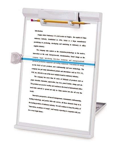 SFQMT Dokumentenständer für Schreibtisch und Arbeitsplatz, verstellbar, mit Linienführung, grau