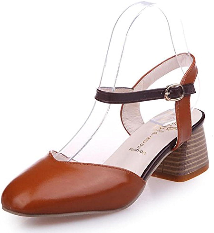 Zapatos de mujer Tacones altos Pu Primavera y verano Cabeza cuadrada áspera Con Mary Jane Zapatos Cómodo Retro...