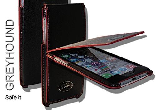 Exklusive Echt Leder Handytasche Cover Hülle Schwarz/Rot für das Apple iPhone 6+ / 6S+ Plus mit Klappe/Magnetverschluss, incl. Sicherheitslasche